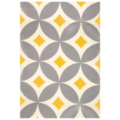 Kilombo Home 21st Century Hand Tufted Wool Rug Made in Spain Yellow Light Grey