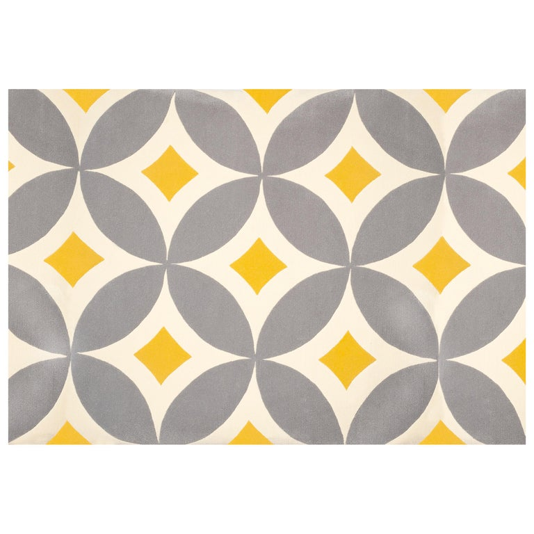 Kilombo Home 21st Century Hand Tufted Wool Rug Made in Spain Yellow Light Grey For Sale