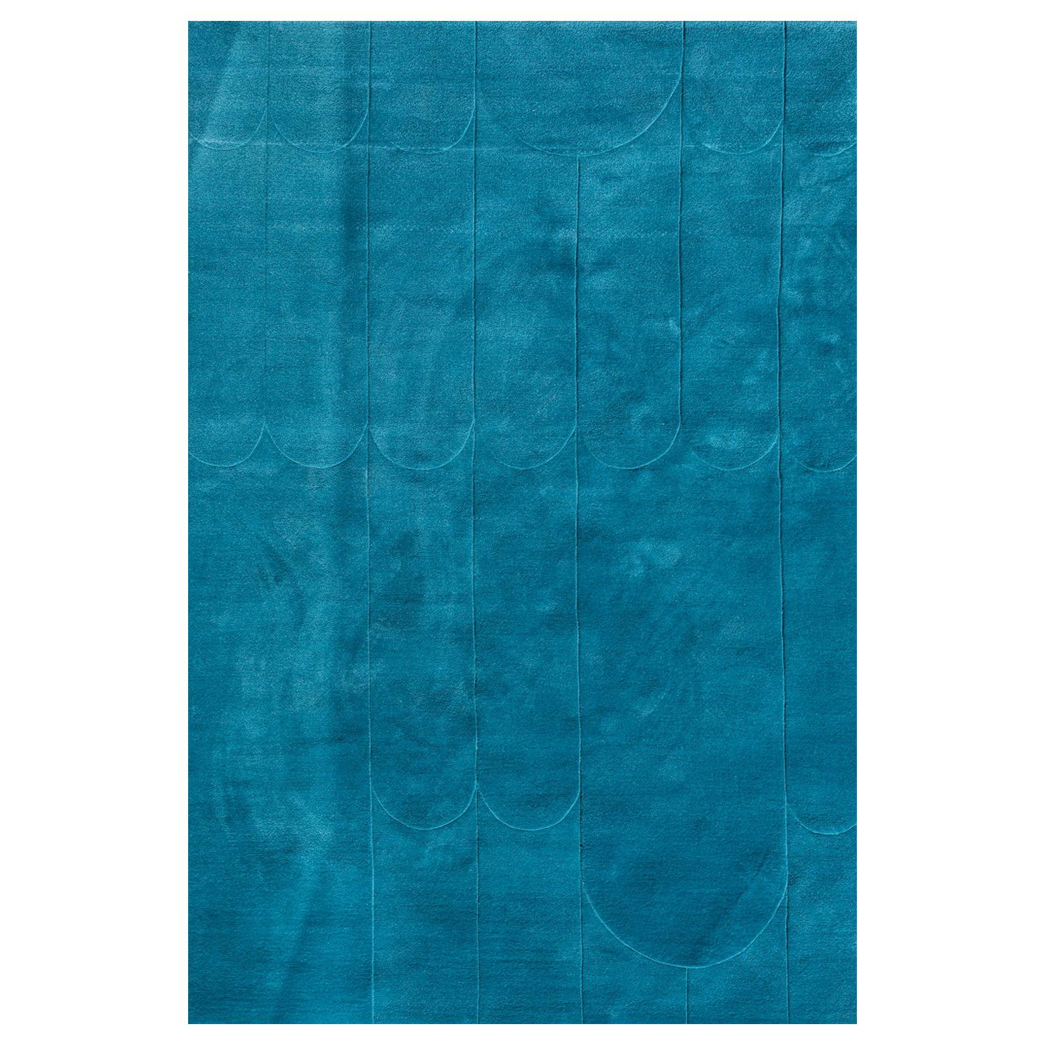 Kilombo Home 21st Century Handtufted Wool Rug Made in Spain Blue Waves