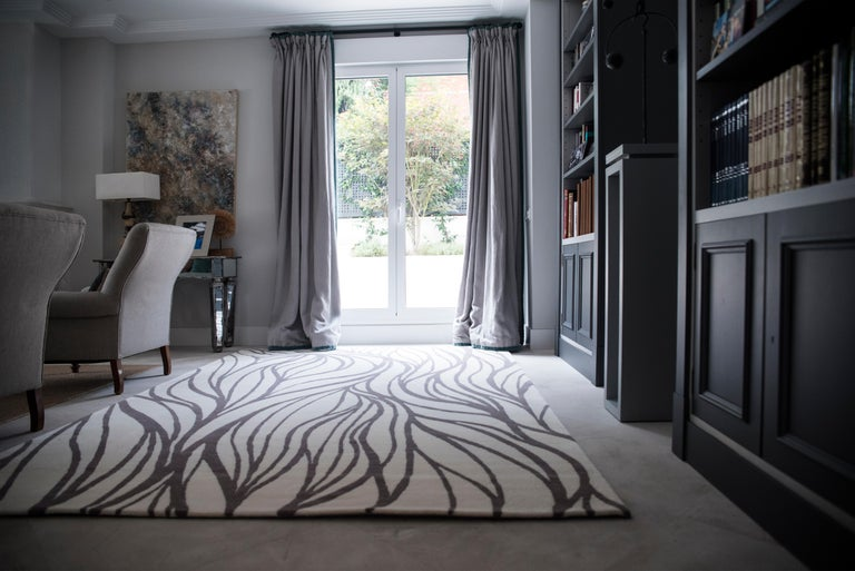 Modern Kilombo Home 21st Century Handtufted Wool Rug Made in Spain Brown and White For Sale