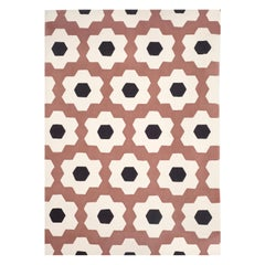Kilombo Home 21st Century Hand Tufted Wool Rug Made in Spain Pink Brown White