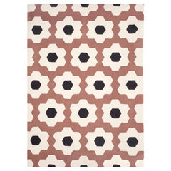 Kilombo Home 21st Century Handtufted Wool Rug Made in Spain Pink Brown White