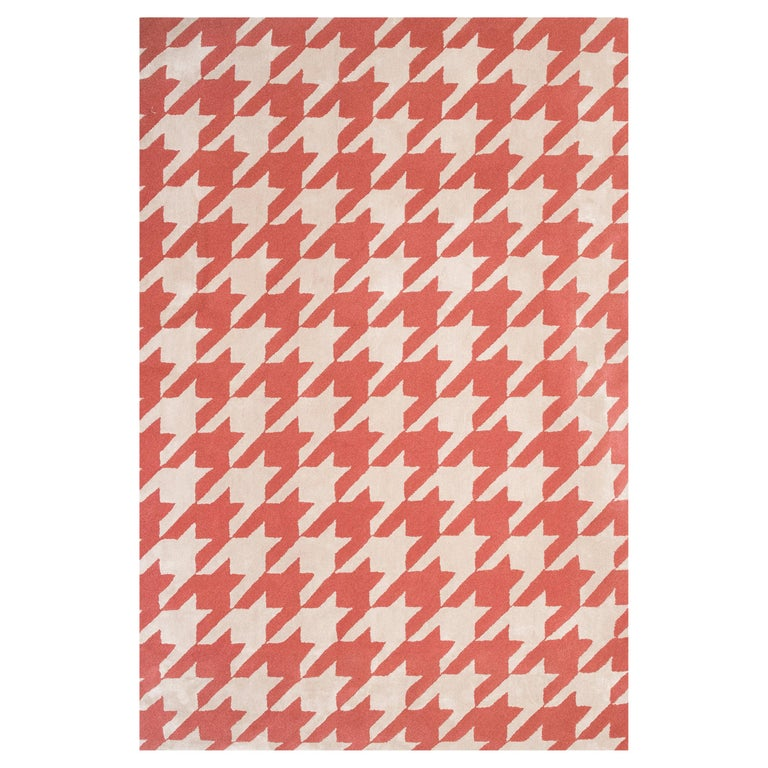 Kilombo Home 21st Century Handtufted Wool Rug made in Spain Red and White For Sale