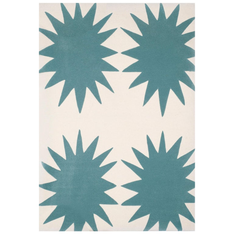 Kilombo Home 21st Century Handtufted Wool Rug Made in Spain Turquoise&White Star For Sale
