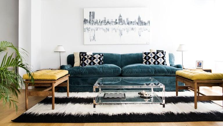 Modern Kilombo Home 21st Century Handwoven Flat-Weave Wool Kilim Black and White For Sale
