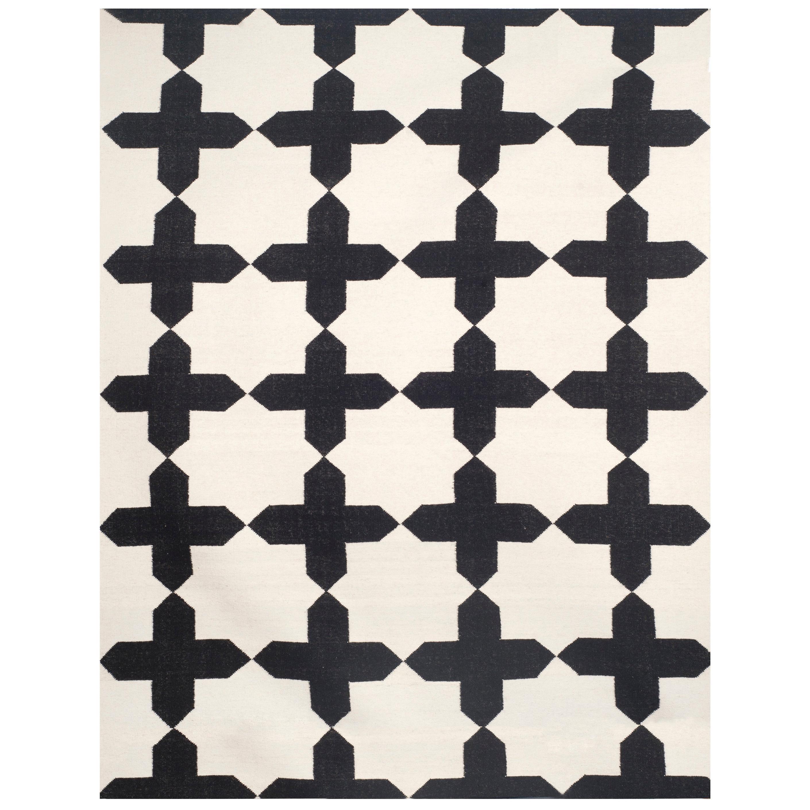 Kilombo Home 21st Century Handwoven Flat-Weave Wool Kilim Black and White