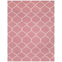Kilombo Home 21st Century Handwoven Flat-Weave Wool Kilim Light Pink and White