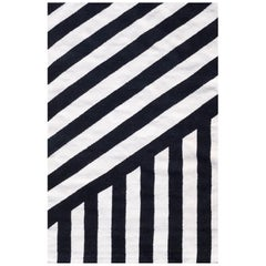 Kilombo Home 21st Century Handwoven Flat-Weave Wool Kilim Rug Black and White