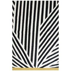 Kilombo Home 21st Century Handwoven Flat-Weave Wool Kilim Rug in Black and White