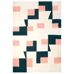 Kilombo Home 21st Century Handwoven Flat-Weave Wool Kilim Rug in Navy and Pink