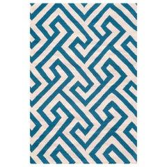Kilombo Home 21st Century Handwoven Flat-Weave Wool Kilim Rug White and Blue