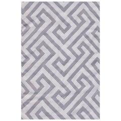 Kilombo Home 21st Century Handwoven Flat-Weave Wool Kilim Rug White and Grey