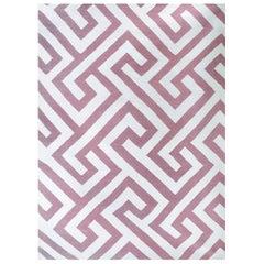 Kilombo Home 21st Century Handwoven Flat-Weave Wool Kilim Rug White and Pink