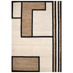 Kilombo Home 21st Century Handwoven Jute Carpet Rug in Black and Natural Colors