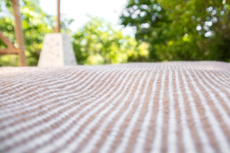 Kilombo Home 21st Century Handwoven Polypropylene Outdoor Rug Bambu Beige For Sale 2
