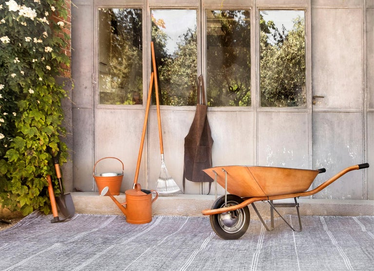 Kilombo Home 21st Century Handwoven Polypropylene Outdoor Rug Bambu Grey For Sale 4