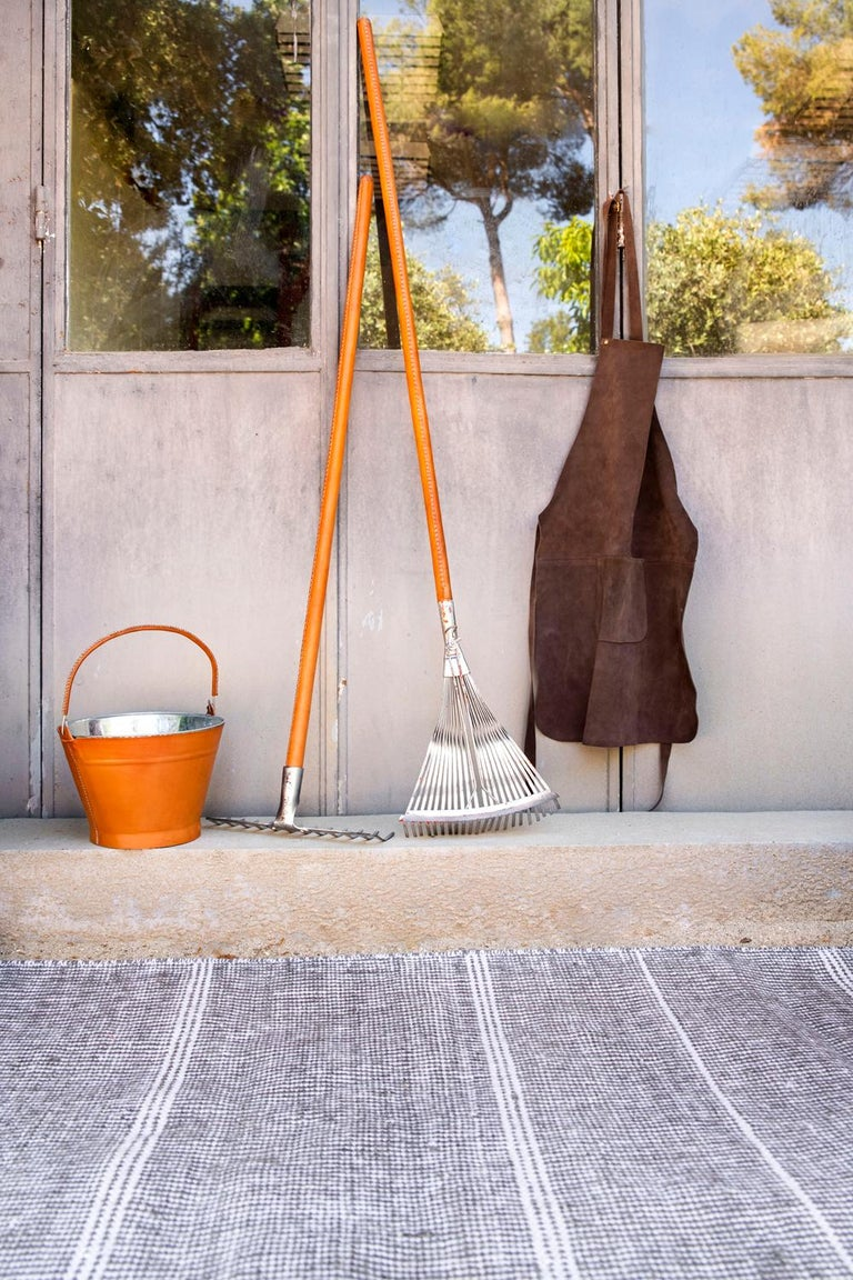 Kilombo Home 21st Century Handwoven Polypropylene Outdoor Rug Bambu Grey For Sale 8