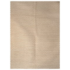 Kilombo Home 21st Century Handwoven Wool Rug in Beige and White