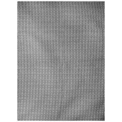 Kilombo Home 21st Century Handwoven Wool Rug in Grey and White