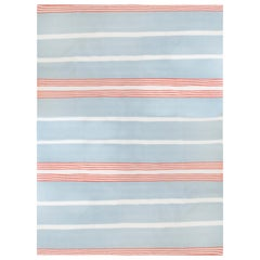 Kilombo Home 21st Century Handwoven Wool Rug in Light Blue and Pink