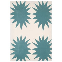 Kilombo Home Hand Tufted Wool Rug Made in Spain Turquoise and White Star