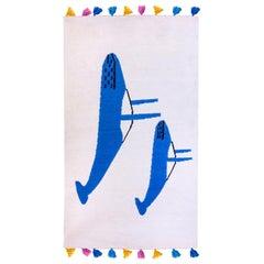 Kilombo Home Handwoven Flat-Weave Wool Kids Room Kilim Rug in Blue