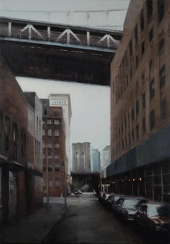 DUMBO AT DUSK, nyc skyline, brooklyn bridge, hyper-realism, muted colors