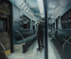 PASSENGER, person standing on subway, bright lights, grey, white, realism