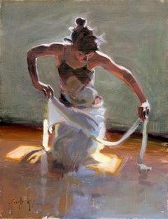 """White Ribbon"", Oil Painting"