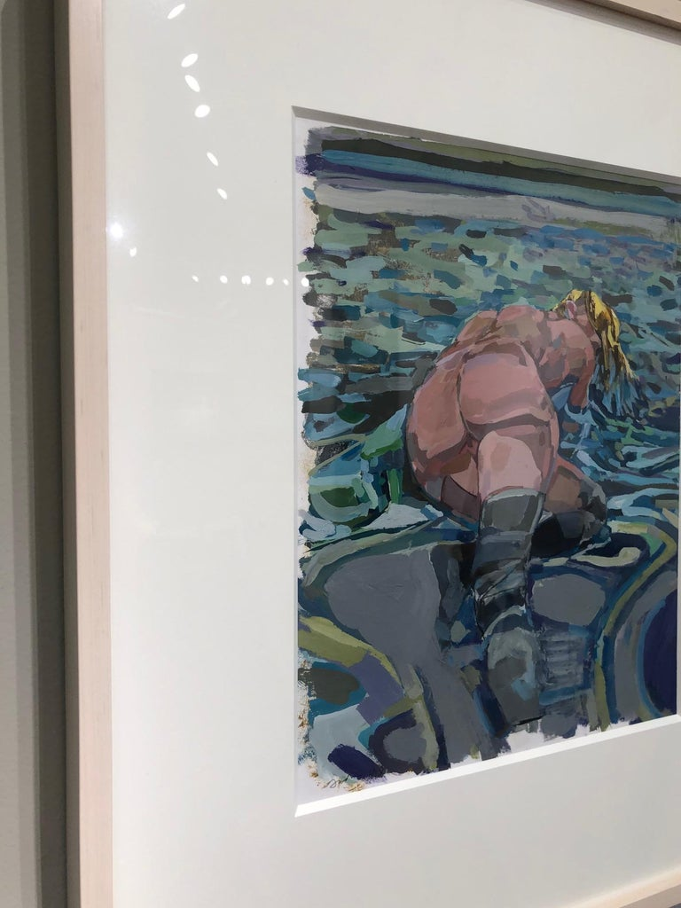 An August Resaissance / 2018 - framed nude - Contemporary Painting by Kim Frohsin