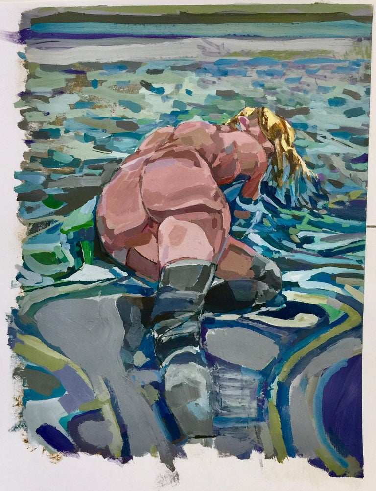 Kim Frohsin Figurative Painting - An August Resaissance / 2018 - framed nude