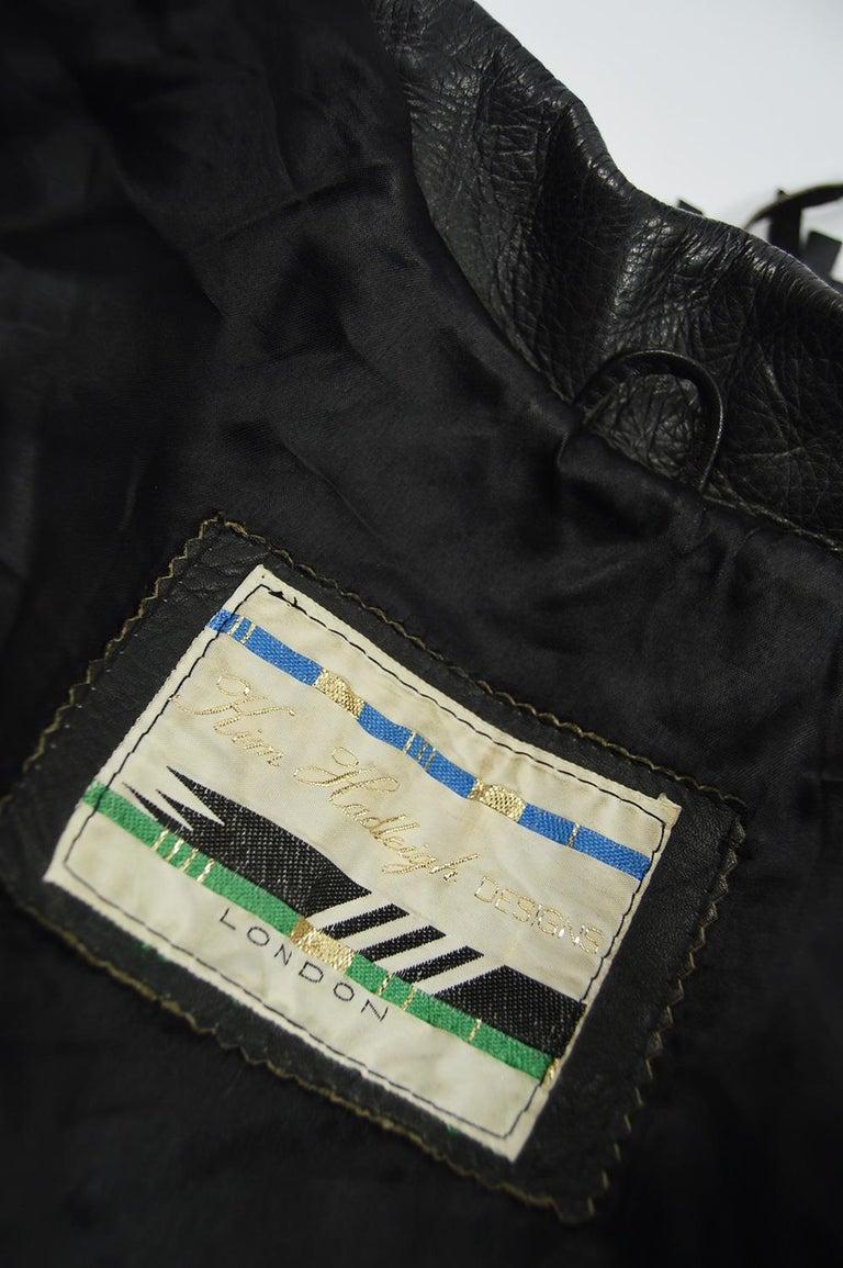 Kim Hadleigh Designs Vintage Men's Fringed Studded Black Leather Jacket, 1980s 7