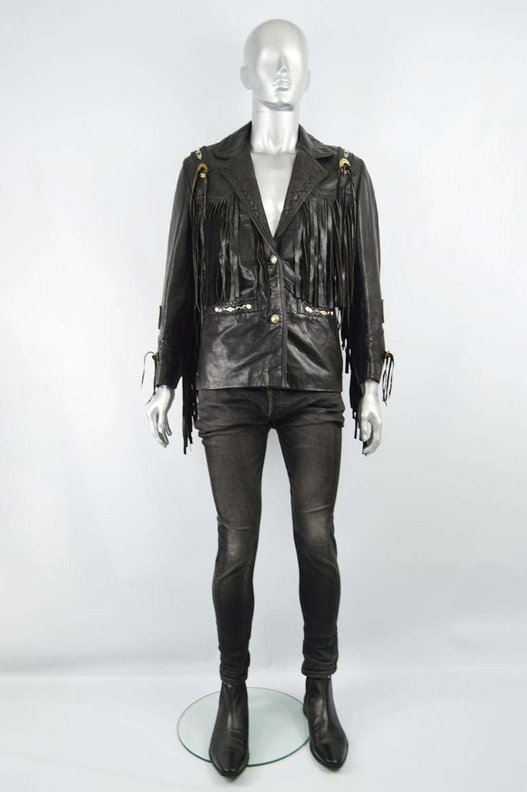 """Kim Hadleigh Designs Vintage Men's Fringed Studded Black Leather Jacket, 1980s  Size: Marked vintage L but fits more like a modern Small to Medium. Please check measurements.  Chest - 40"""" / 101cm Waist - 36"""" / 91cm Length (Shoulder to Hem) - 26"""" /"""