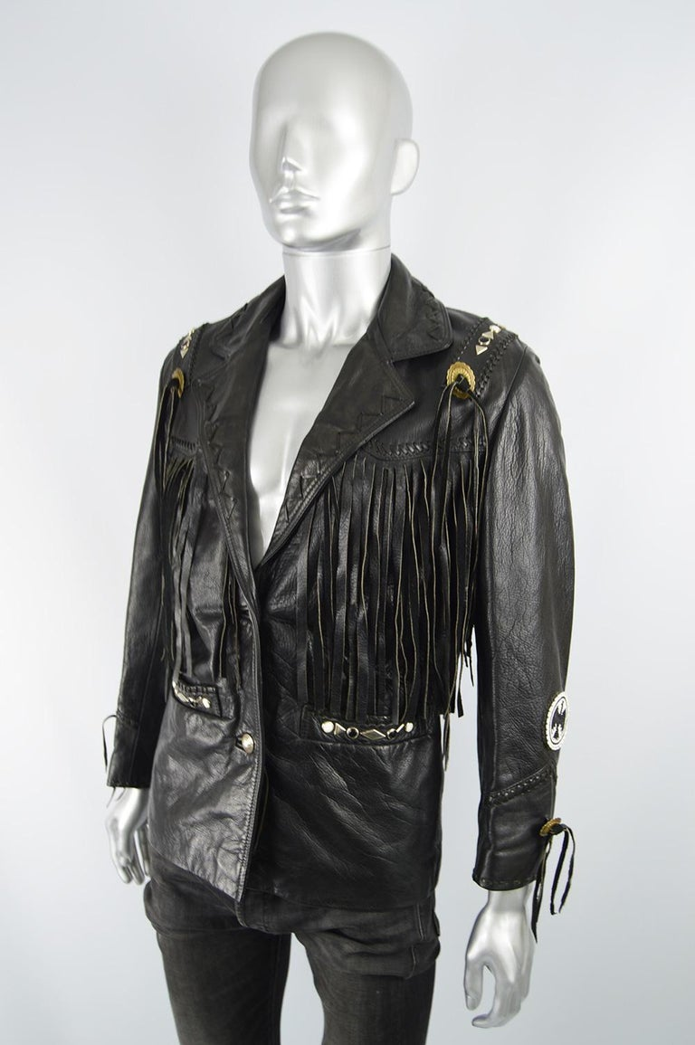 Kim Hadleigh Designs Vintage Men's Fringed Studded Black Leather Jacket, 1980s In Good Condition In Doncaster, South Yorkshire