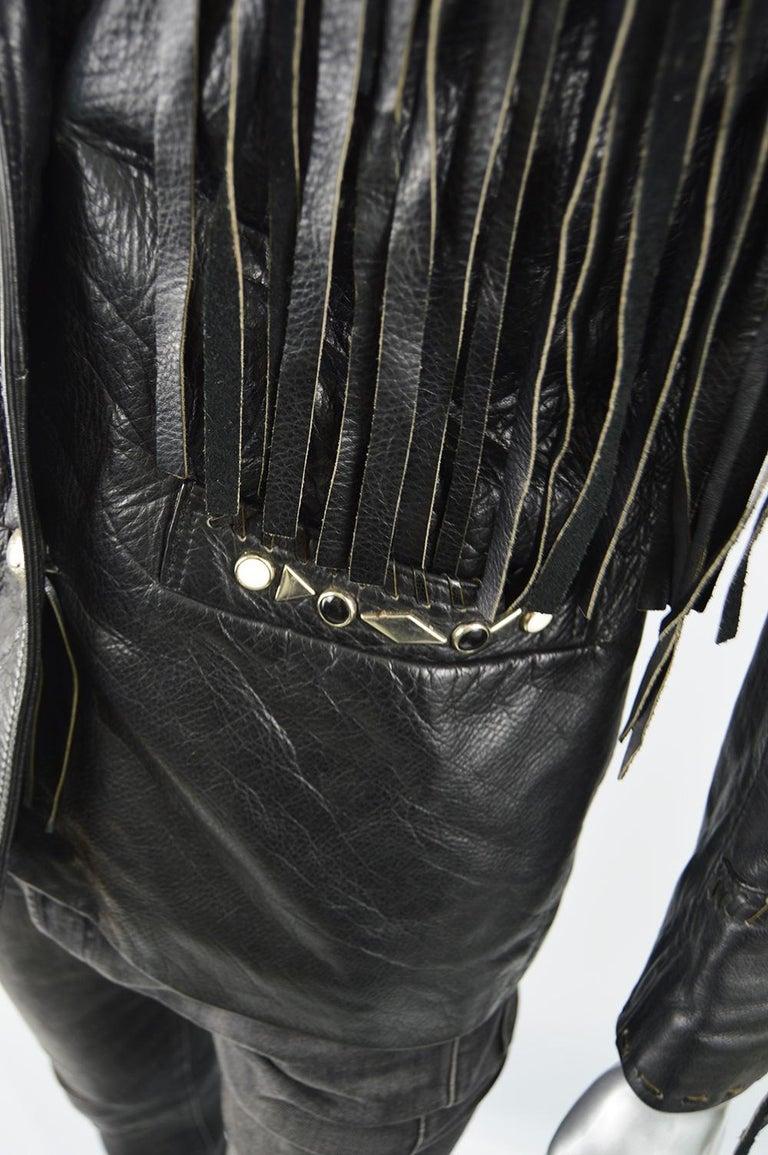 Kim Hadleigh Designs Vintage Men's Fringed Studded Black Leather Jacket, 1980s 1