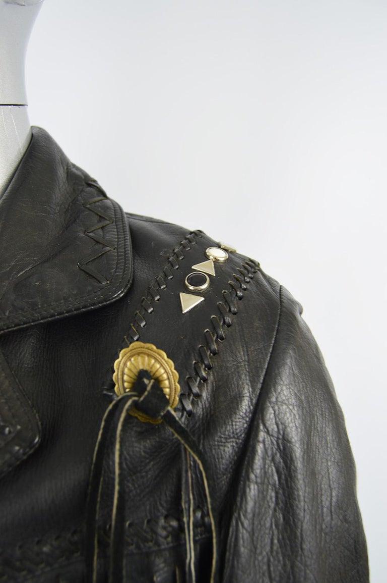 Kim Hadleigh Designs Vintage Men's Fringed Studded Black Leather Jacket, 1980s 2