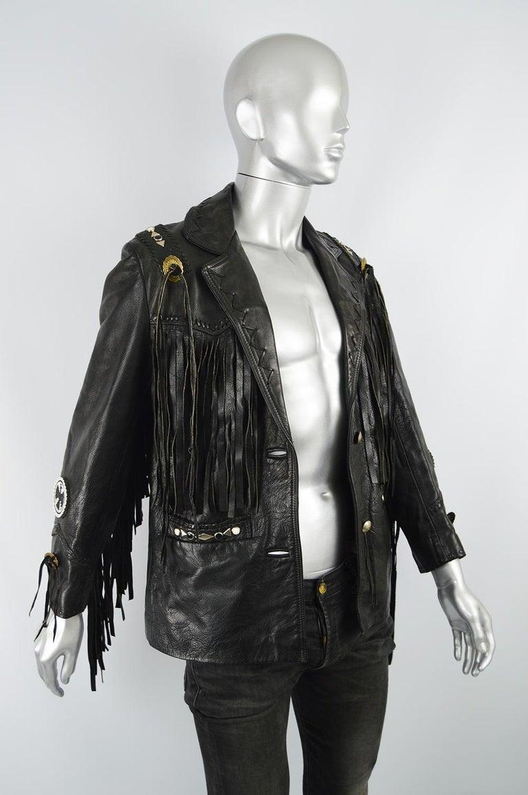 Kim Hadleigh Designs Vintage Men's Fringed Studded Black Leather Jacket, 1980s 3