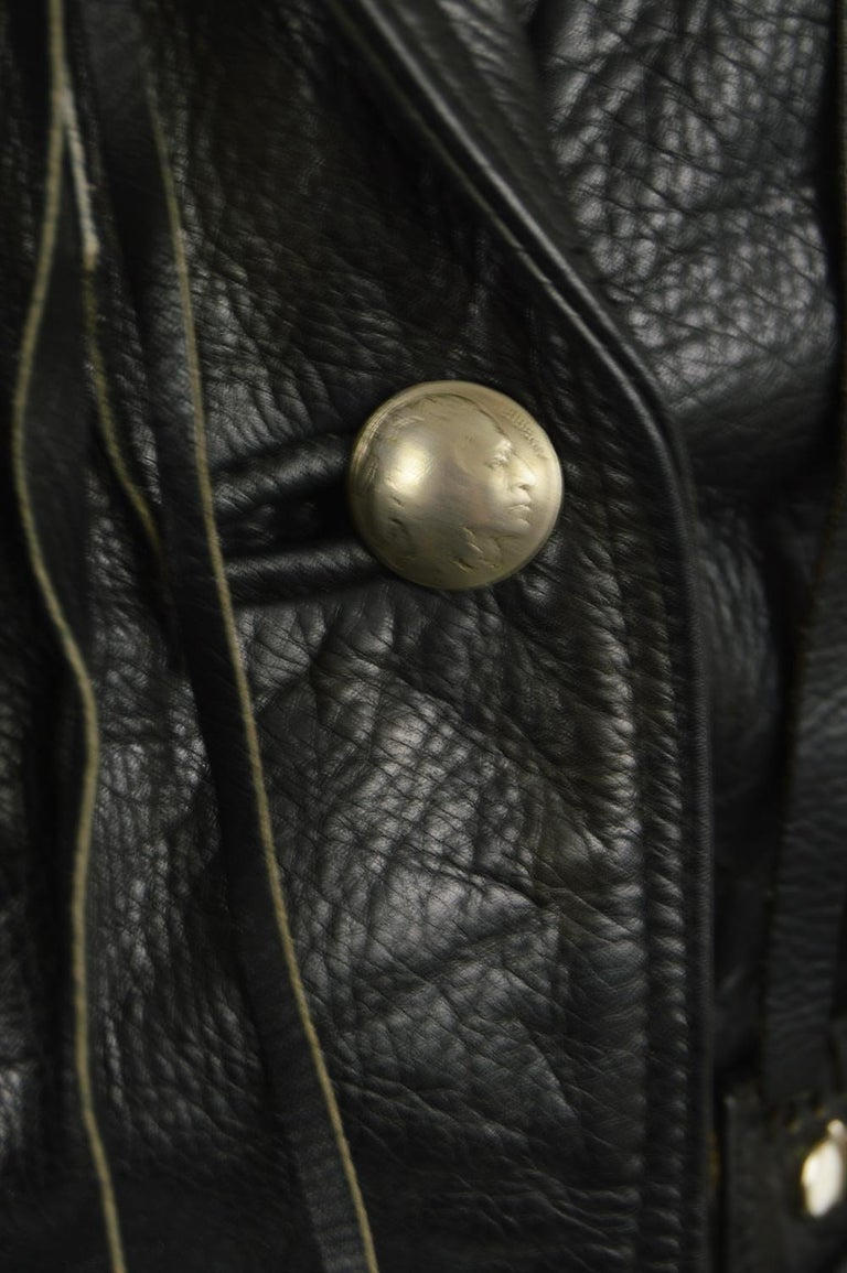 Kim Hadleigh Designs Vintage Men's Fringed Studded Black Leather Jacket, 1980s 4