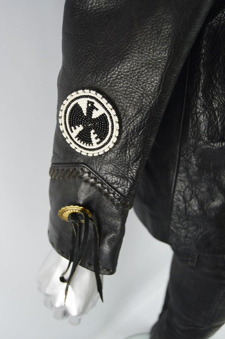 Kim Hadleigh Designs Vintage Men's Fringed Studded Black Leather Jacket, 1980s 5