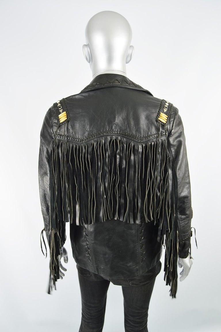 Kim Hadleigh Designs Vintage Men's Fringed Studded Black Leather Jacket, 1980s 6