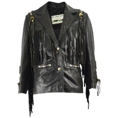 Kim Hadleigh Designs Vintage Men's Fringed Studded Black Leather Jacket, 1980s