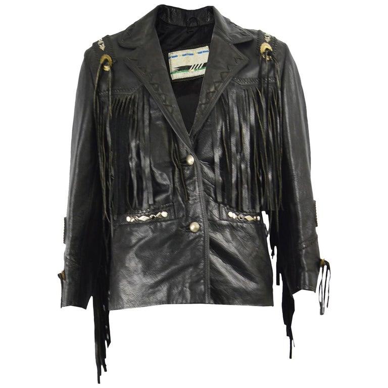 Kim Hadleigh Designs Vintage Men's Fringed Studded Black Leather Jacket, 1980s