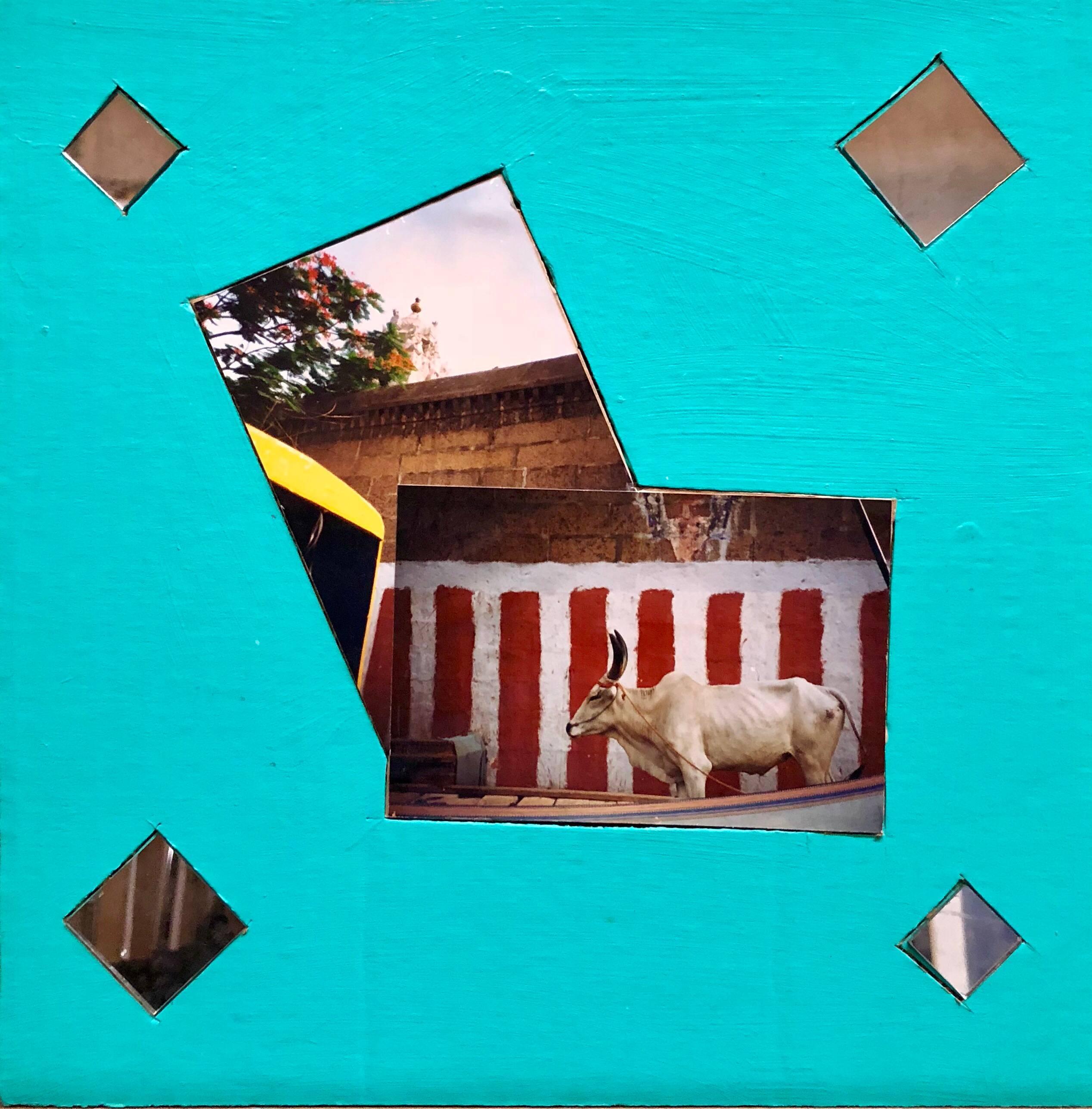 Chindambaram Temple, Mixed Media Photo Collage on Cardboard
