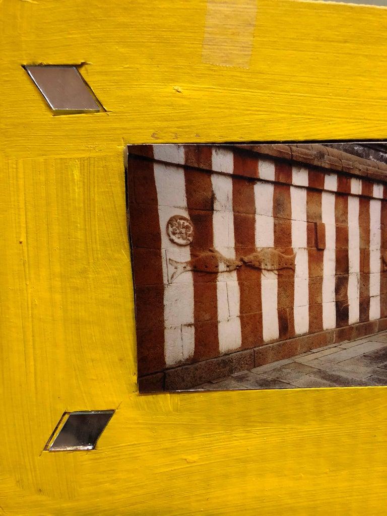 Shravan Belagola, India, 1992, Photo Prints on Cardboard, Collage, Mirror Insets - Orange Figurative Photograph by Kim MacConnel