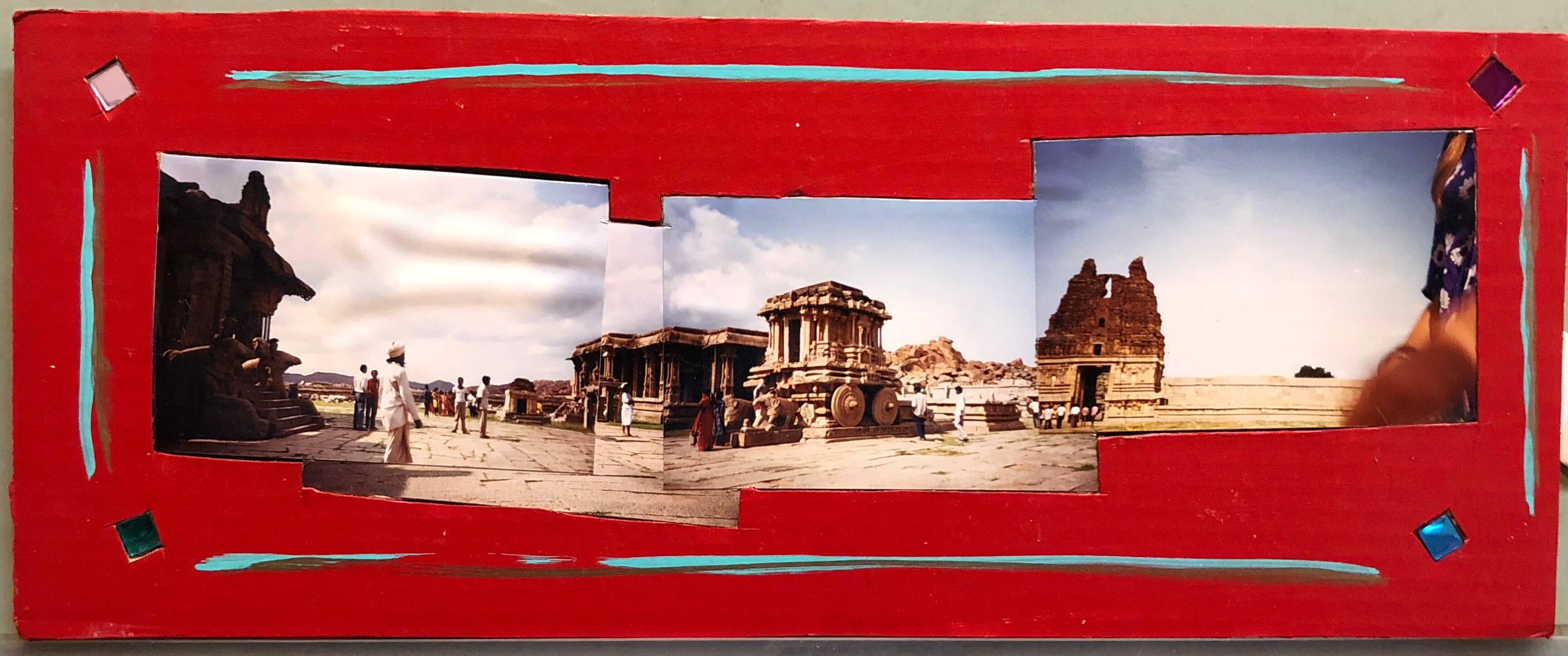 Tourists Hampi, India, 1992, Photo Prints on Cardboard, Collage, Mirror Insets