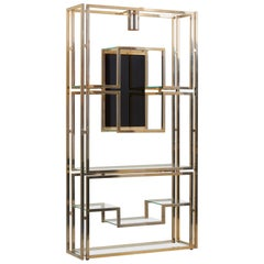 Kim Moltzer Brass, Silvered Metal and Glass Illuminated Open Display Case