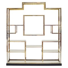 Kim Moltzer Glass and Metal Shelving Unit Statement Piece Dating from 1970s