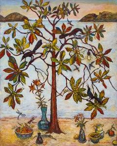 "Kim Osgood, ""Tree of Life - Joy"", 2018, acrylic on paper over panel, 60"" x 48"""