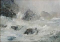 Kim Pragnell, White Gulls, Sea and Rocks, Original landscape and seascape art