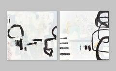 Detour + Joyride Diptych, 2020, Acrylic on Canvas, Signed